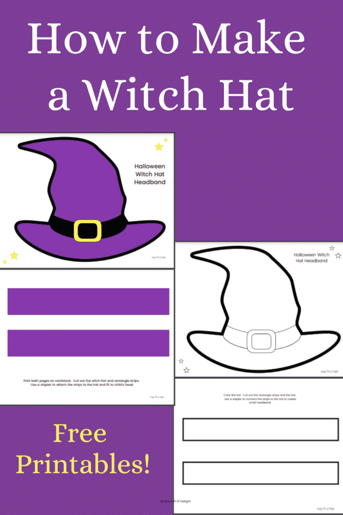 How to Make a Witch Hat Headband - with free printable templates to make it fast and easy!