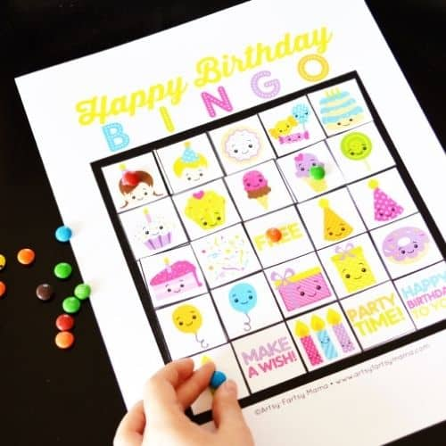 Birthday Bingo by Artsy-Fartsy Mama - birthday party games for kids indoor