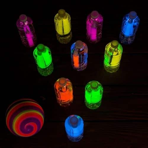 Glow in the dark water bottle bowling by Crafts by Amanda - birthday party games for kids outdoor