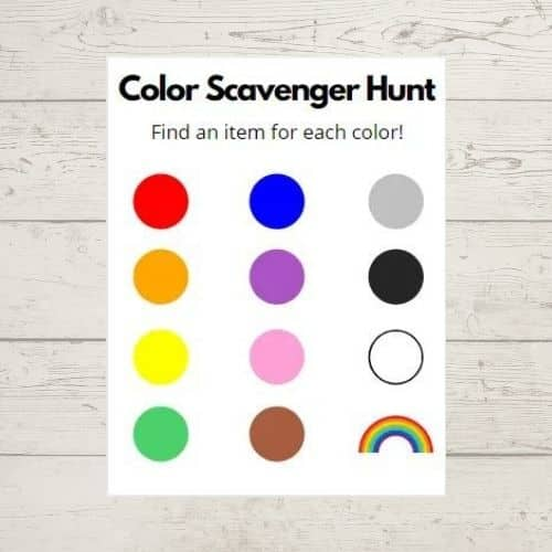 Color scavenger hunt from Simply full of delight - virtual birthday party game