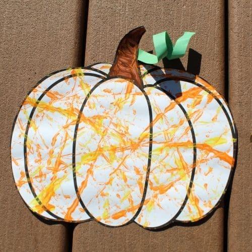 marble painting preschool pumpkin craft