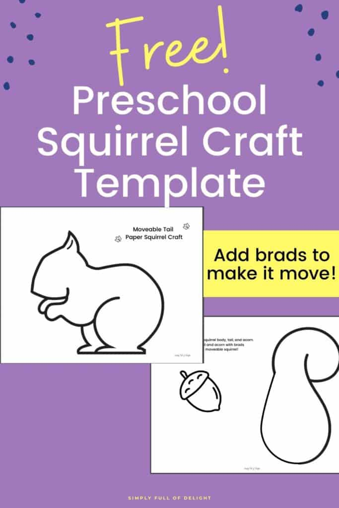 Free Preschool Squirrel Craft template - make your own moveable squirrel with this easy free squirrel pdf.  Add brads and make the squirrel's tail move!